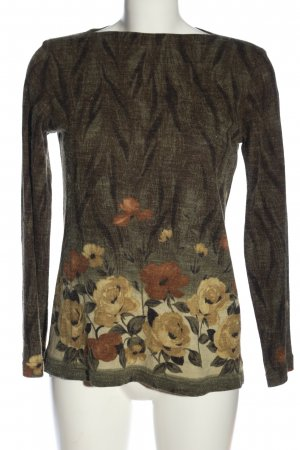 Belle Surprise Knitted Sweater khaki flower pattern casual look