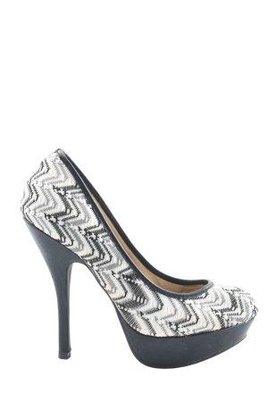 Belle Women High Heels weiß-schwarz grafisches Muster Elegant