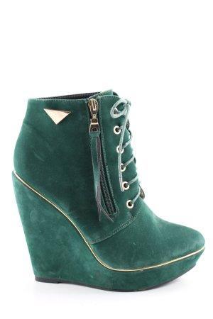Belle Women Keil-Stiefeletten grün-goldfarben Casual-Look
