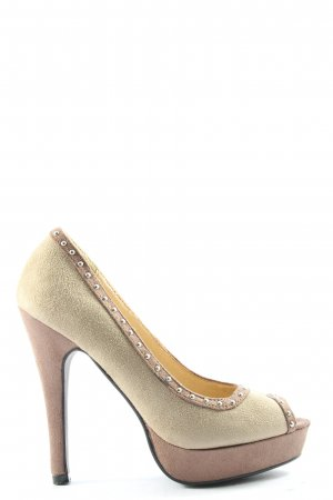 Belle Women Peep Toe Pumps gold-colored-brown elegant