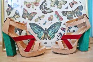 Belle Women Sandales à talons hauts et plateforme multicolore