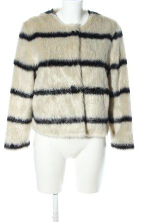 Bellerose Giacca in eco pelliccia nero-crema motivo a righe elegante