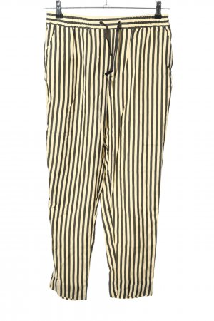 Bellerose Pantalon en jersey noir-jaune primevère motif rayé