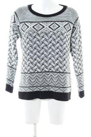 Bellfield Kraagloze sweater zwart-wit grafisch patroon casual uitstraling