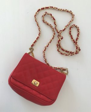 Bellido Made in Spain Quilted Chain Crossbody Bag Rot Tasche Leder Kette Gesteppt