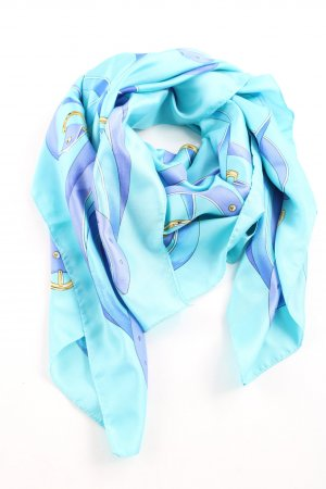 Belmondo Neckerchief turquoise-blue abstract pattern casual look