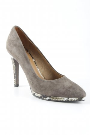 Belmondo High Heels graubraun Animalmuster Business-Look