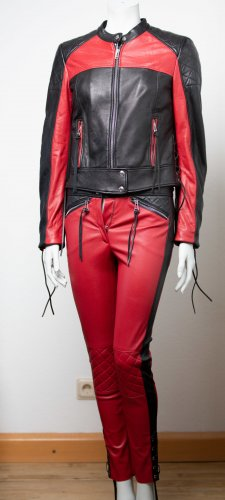 Belstaff Hendrickson Lederjacke und Lederhose im Set Rot / Schwarz Leder