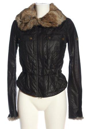 Belstaff Fake Fur Jacket black-brown quilting pattern casual look