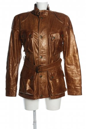 Belstaff Leather Jacket bronze-colored themed print casual look
