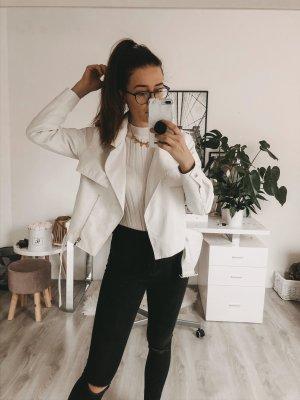 Belted PU Jacket White