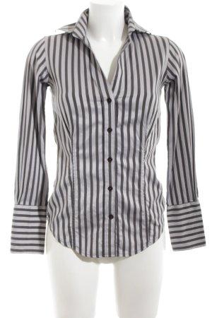 Ben Sherman Long Sleeve Shirt black-silver-colored striped pattern