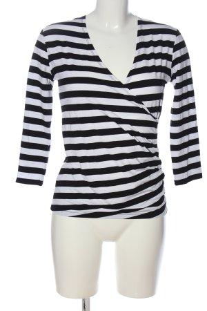 Benbarton Blouse à manches longues noir-blanc motif rayé style décontracté