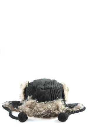 Bench Fellmütze schwarz Zopfmuster Casual-Look
