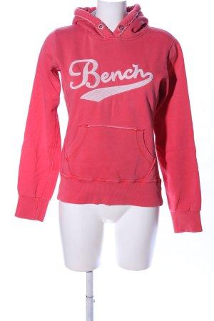 Bench Kapuzensweatshirt rot-weiß Schriftzug gedruckt Casual-Look
