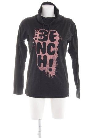 Bench Kapuzensweatshirt schwarz-lachs Schriftzug gedruckt Casual-Look
