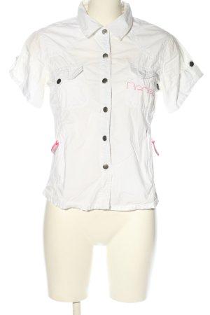 Bench Kurzarm-Bluse weiß Schriftzug gedruckt Casual-Look