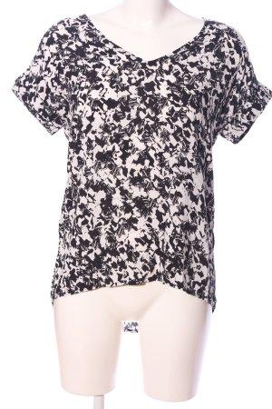 Bench Kurzarm-Bluse schwarz-weiß Allover-Druck Casual-Look