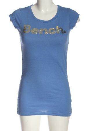 Bench Longshirt blau-goldfarben Schriftzug gedruckt Casual-Look