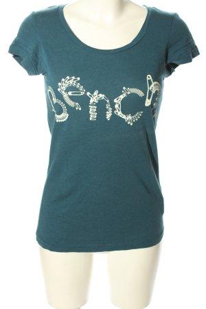 Bench Print-Shirt türkis-weiß Schriftzug gedruckt Casual-Look