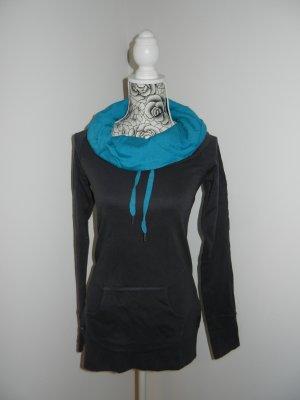 Bench Długi sweter ciemnoszary-turkusowy