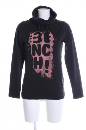 Bench Maglia a collo alto nero-rosa caratteri stampati stile casual