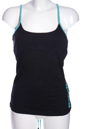 Bench Sportshirt schwarz-türkis Schriftzug gedruckt Casual-Look