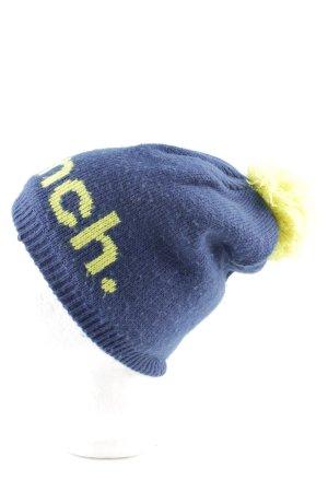 Bench Chapeau en tricot bleu-jaune primevère lettrage imprimé