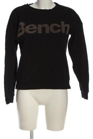 Bench Sweatshirt schwarz-braun Schriftzug gedruckt Casual-Look