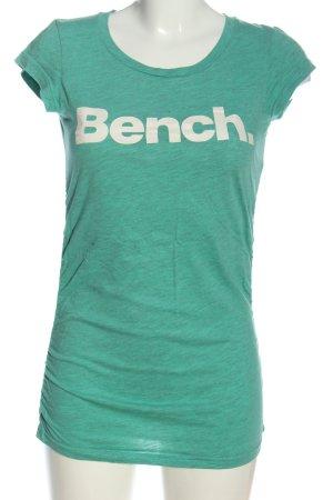 Bench T-Shirt grün-weiß Schriftzug gedruckt Casual-Look