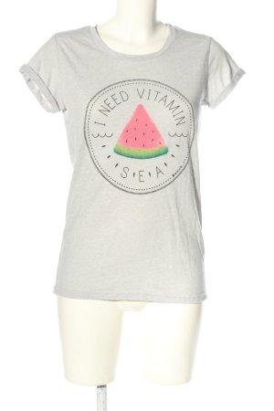 Bench T-Shirt hellgrau-pink meliert Casual-Look