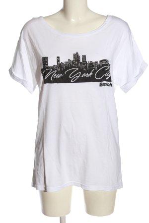 Bench T-shirt bianco-nero Stampa a tema stile casual
