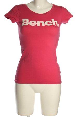Bench T-Shirt pink-weiß Schriftzug gedruckt Casual-Look