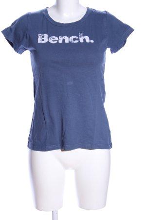 Bench T-Shirt blau-weiß Schriftzug gedruckt Casual-Look