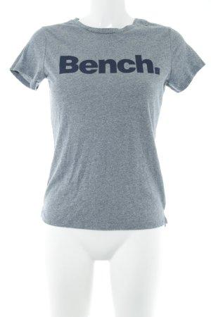 Bench T-Shirt grau-dunkelblau Schriftzug gedruckt Casual-Look
