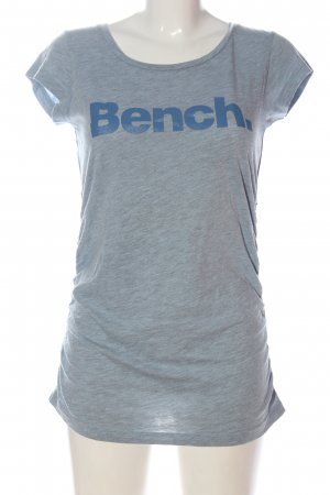 Bench Boatneck Shirt light grey-blue printed lettering casual look