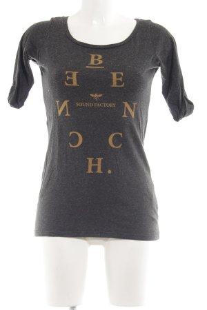 Bench U-Boot-Shirt schwarz-hellorange Schriftzug gedruckt Casual-Look