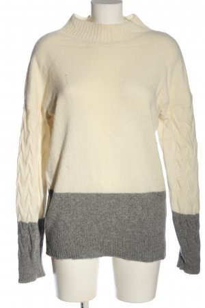 Benedetta B. Kraagloze sweater wolwit-lichtgrijs gestippeld casual uitstraling