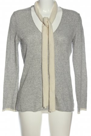 Benedetta B. Knitted Sweater light grey-natural white cable stitch casual look