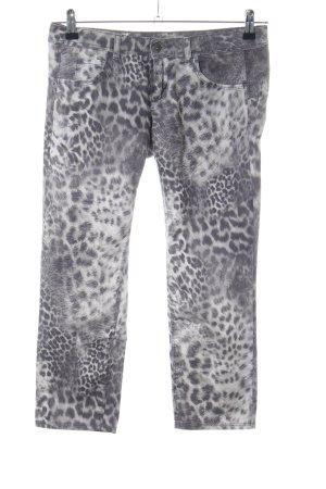 Benetton Jeans a 3/4 grigio chiaro-bianco stampa integrale elegante