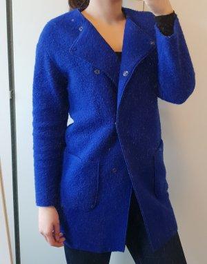 Benetton Płaszcz niebieski-niebieski neonowy Wełna