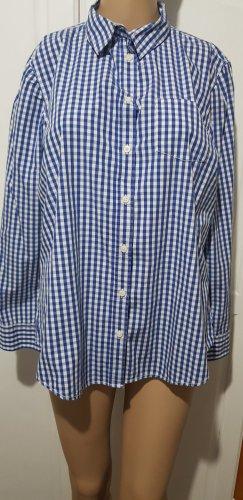 Benetton bluse Oberteil hemd blau weiß kariert