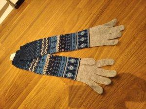 Benetton Gants en tricot gris clair-bleu foncé laine