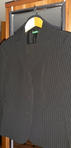 United Colors of Benetton Pinstripe Suit black-white polyester