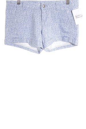 Benetton Hot Pants stahlblau-weiß Blumenmuster