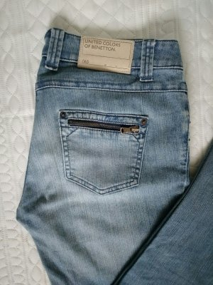 Benetton Jeans Jeans 7/8 bleu acier coton