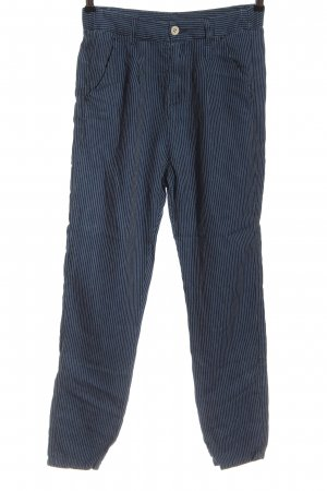 Benetton Jeans High Waist Trousers blue-white striped pattern casual look