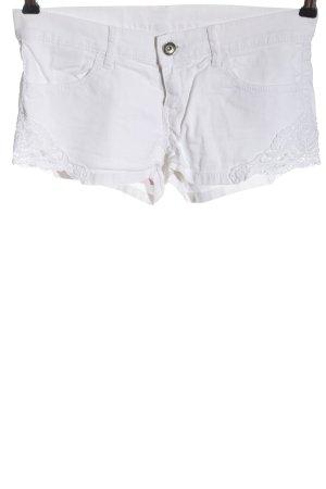 Benetton Jeans Short moulant blanc style décontracté