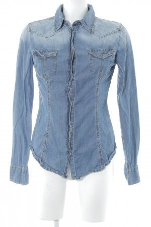 Benetton Jeans Jeanshemd stahlblau Casual-Look