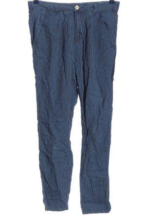 Benetton Jeans Stoffhose blau-weiß Streifenmuster Casual-Look